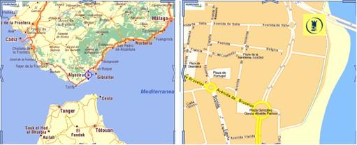 Mapa de Andalucía y de Algeciras con la localización del centro